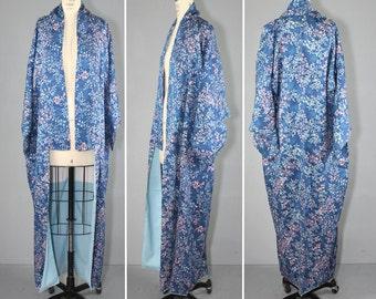 vintage kimono / silk robe / floral / SEA VINES blue silk kimono