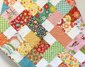 SALE Baby Girl Quilt Colorful Scrappy Patchwork Crib Nursery Bedding OOAK