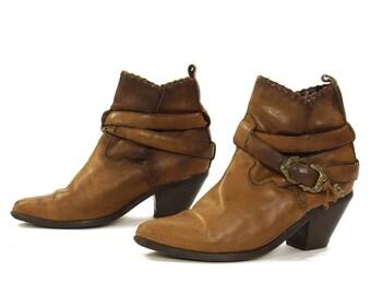 90s Zodiac Ankle Boots / Vintage 1990s Brown Leather Western Buckle Harness Shortie Pee Wee Chelsea Booties / Moto Boho Rocker / Women's 9