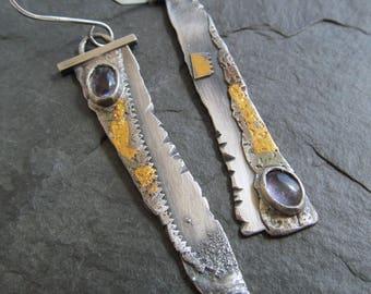 Long Dangle Earrings Gold Keum Boo Earrings Long Silver Gold Earrings Rustic Silver Jewelry Purple Amethyst Gemstone Dangling Earrings