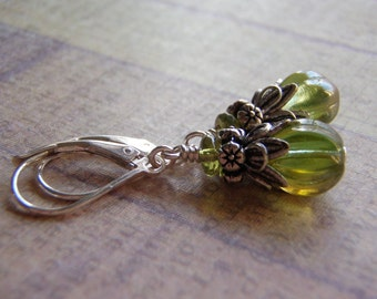 Green Earrings Sterling Silver Filled Ear Wire 8 mm Melon Glass Celsian Finish