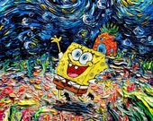 Spongebob Art CANVAS print van Gogh Never Saw Bikini Bottom starry night Aja 8x8, 10x10, 12x12, 16x16, 20x20, 24x24, 30x30 choose
