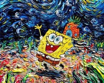 Spongebob Art CANVAS print van Gogh Never Saw Bikini Bottom starry night Aja 8x8, 10x10, 12x12, 16x16, 20x20, 24x24, 30x30 choose
