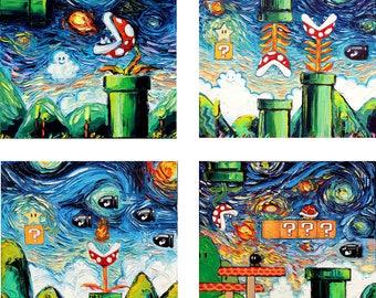 4 CANVAS PRINT SET - Video Game Art - Super Mario Bros - Starry Night Gamer print by Aja 8x8 10x10 12x12 16x16 20x20 24x24 30x30 36x36