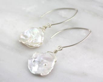 Big Petal Pearl Silver Earrings