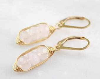 Gold Wrapped Rose Quartz Pod Earrings