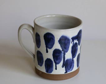 Mug with drippy blue dots Handmade Pottery