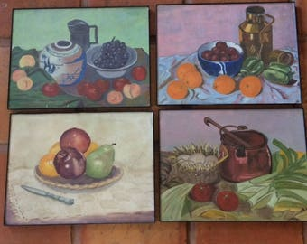 Vintage Original Folk Art Paintings Modern Farm Fruit Still Life Set of 4 1960's