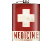 Medicine Cross Funny Novelty Alcoholic - 8oz Stainless Steel Flask - come in a GIFT BOX -  by Trixie & Milo