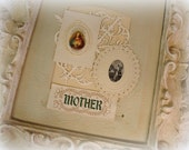 vintage apostleship of prayer scapular + vintage oval lace holy card + vintage woven mother ribbon bookmark emerald with gold metallic