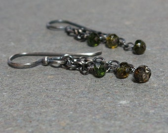 Green Tourmaline Earrings  Chain Dangle Oxidized Sterling Silver Earrings Gift for Her