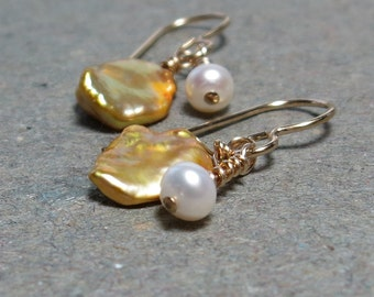 Gold Keshi Pearl Earrings White Freshwater Pearls Gold Earrings Gift for Her Gift for Girlfriend