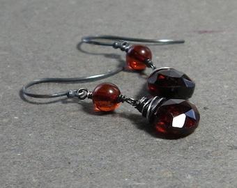 Hessonite Garnet Earrings Amber January Birthstone Oxidized Sterling Silver Earrings Gift for Wife