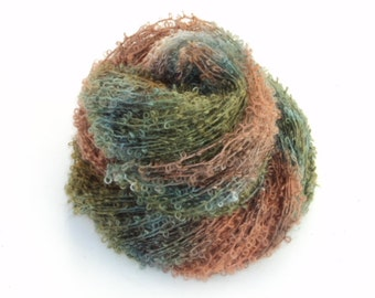 Deep Forest, Hand Dyed, Hand Painted, Looped, Mohair, Yarn