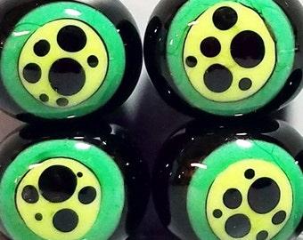 Groovy Green Bon Bons--Handmade Lampwork Beads
