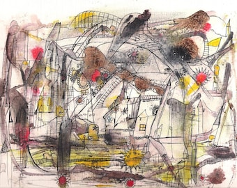 No. 912E, Original Mixed Media Painting 9x12 by NoRaHzArT