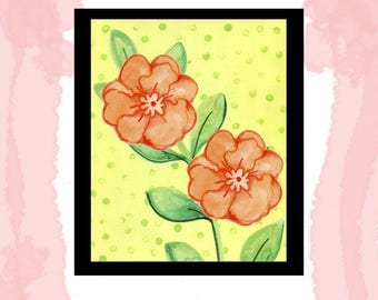 Printable Download Simple Watercolor Flower with Polka Dot Background