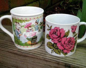 Vintage Tea Time Animal Party & Pink Rose Mug Lot of 2 - Floral Coffee Mugs / Cups - 60s - 80s Era Rose Cup + Vintage Hallmark Tea Lover Cup