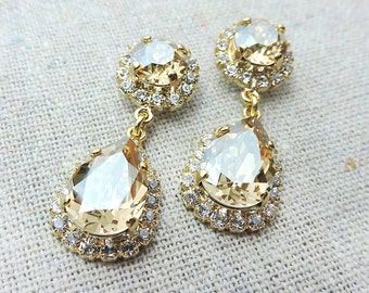 Swarovski Crystal Champagne Sparkle Teardrop Dangling Post Earrings Crystal Faux Diamond Pave Halo Gold Bridal Jewelry Wedding Party Gifts