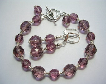 Lavender Bracelet and Earrings Purple Czech Glass Toggle Clasp Leverback Hooks Wire Wrapped Silver Crystal Jewelry Gifts under 10