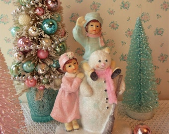 RESERVED for NICOLE -Snowman - Victorian Children - Shabby Pink and Pastel