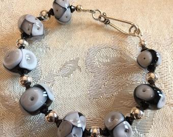 Lampwork Bracelet  Black White Sterling Silver Dots Glass Unique Swarovski Crystals