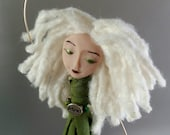 Chime Doll - Believe - Charm - ooak - art doll - beaded doll - brass bells - green - white - silver - blonde - bamboo yarn - chimes