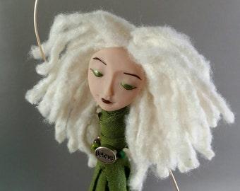 Chime Doll - Believe - Charm - ooak - art doll - beaded doll - brass bells - green - white - silver - blonde - bamboo yarn - chimes