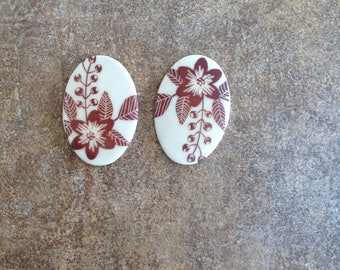 Oval Ceramic Cabochons for Earring Makers