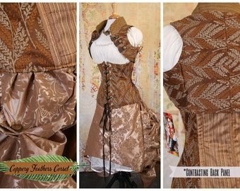 Waist 28 to 30 Coppery Feathers Wench Corset w/ Contrasting Back Panel