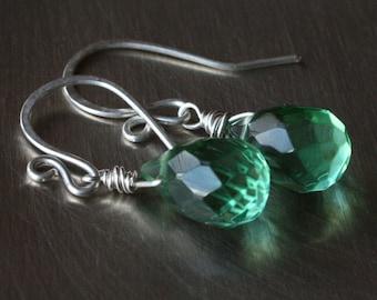 Sparkling Green Faceted Quartz Earrings, Sterling Silver Wire Wrapped Earrings, Festive Green Earrings, Green Party Earrings, Sparkles
