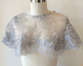 Metallic Silver Hooded Capelet One of Kind
