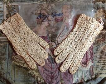 Vintage Crochet Gloves Sign Hega Made in France