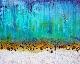 "Getting Deep - Maxine Orange - surrealist abstract 24"" x 18"""