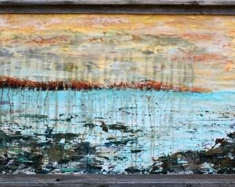 Western Lake 36x24 with Barnwood frame by Maxine Orange
