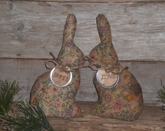 2 Primitive Grungy Floral Fabric Easter Bunny Love Bowl Fillers Ornies Ornaments Tucks Shelf Sitters