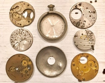8 Vintage Pocket WATCH Parts Piece LOT Jewelry SUPPLIES Steampunk Industrial Altered Art  Mixed Media Curiosity Cabinet Plate Casings PW10