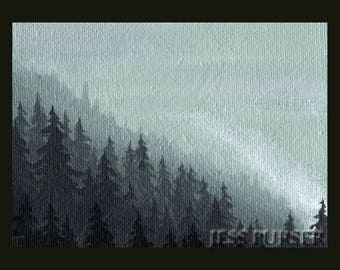 ACEO Art Card Print - The Forest 1 - Forest painting