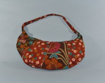 Patchwork Hobo Bag with Beige/Blue Lining