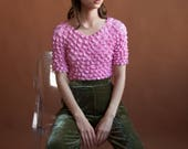 RESERVED. pink micropleat popcorn top / simple crinkled top / minimalist top / s / m / 2439t / B18