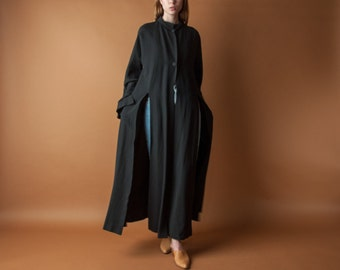 wool blend black split duster coat / long carwash flared bell sleeve coat / long black minimalist coat / s / m / 2111o / R3