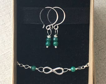 Genuine Emerald Infinity Bracelet And Earrings Gift Set. Sterling Silver. Gemstone Jewellery Set. May Birthstone. Gift For Her. UK