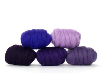 ON SALE Plush Purples Merino Variety Pack - 5 Colors - 50 grams per color = 250 Grams or 8.8 oz total to Spin, Felt, Create Fiber Art