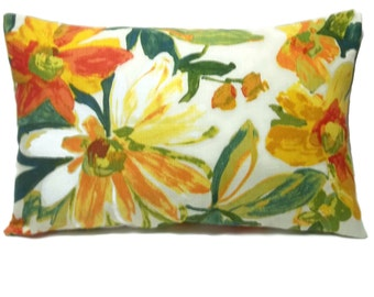 Decorative Lumbar Pillow Cover Orange Red Green Yellow White Floral Print Same Fabric Front/Back Toss Throw Accent 12x18 inch  x