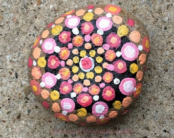 Painted Rock, Desk Decor, Coral and Pink Office Supply, Paperweight, Mandala Painting, Stones, Gifts for employee, staff, boss, her, him