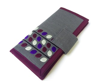 MADE TO ORDER / Womens Wallet / Handmade fabric wallet / Vine Purple wallet / modern wallet / Large Wallet / Gifts for women