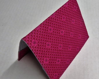 Passport Holder Travel Holiday Cruise Honeymoon Cover Case - Dark Pink Mini Squares and Mini Dots Fabric