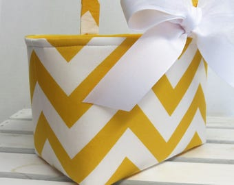 READY TO SHIP - Sale / Clearance - Fabric Easter Basket Candy Bucket Bin Storage Container - Yellow / White Chevron ZigZag Zig Zag Fabric