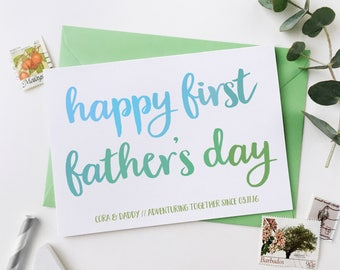 First Father's Day Personalised Card - Daddy Card - Child And Dad Adventure Card - Daddy Keepsake