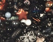 Destash Czech glass bead lot - black, gray, silver, copper, and white Czech glass beads